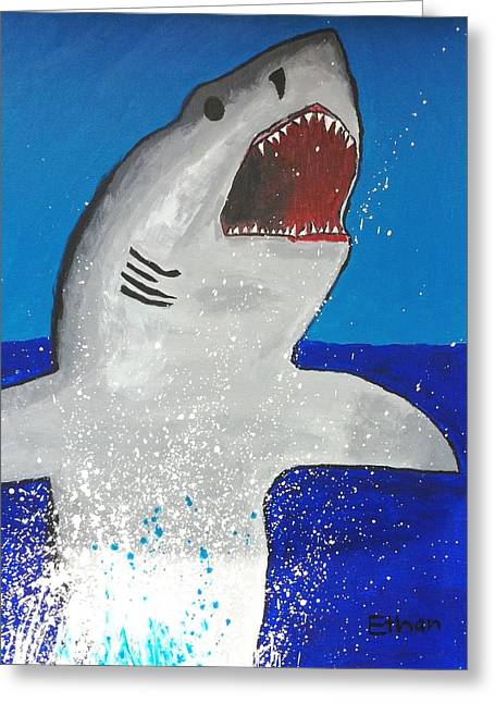 Greeting Card featuring the painting Giant Great White by Ethan Chaupiz