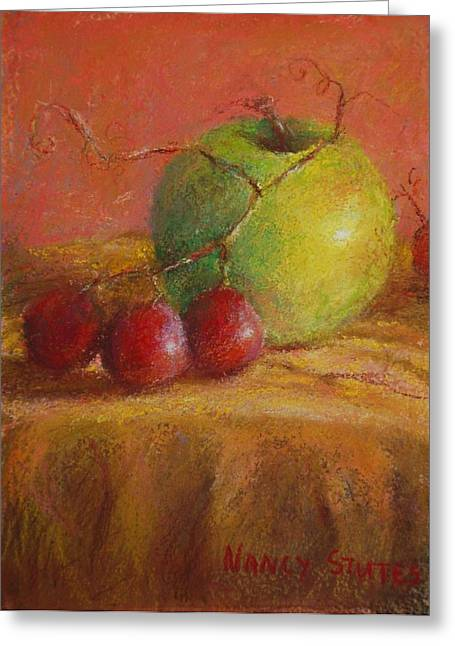 Green Apple Greeting Card by Nancy Stutes