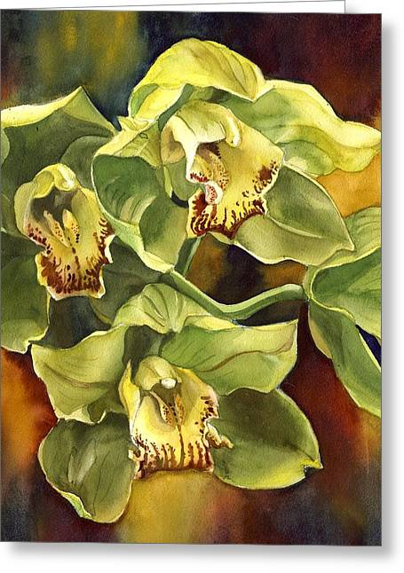 Green Cymbidium Orchid Greeting Card
