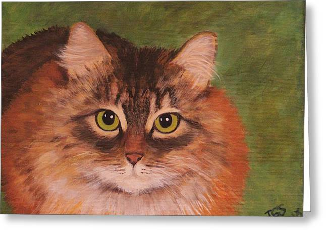 Greeting Card featuring the painting Green Eyed Kitty by Janet Greer Sammons