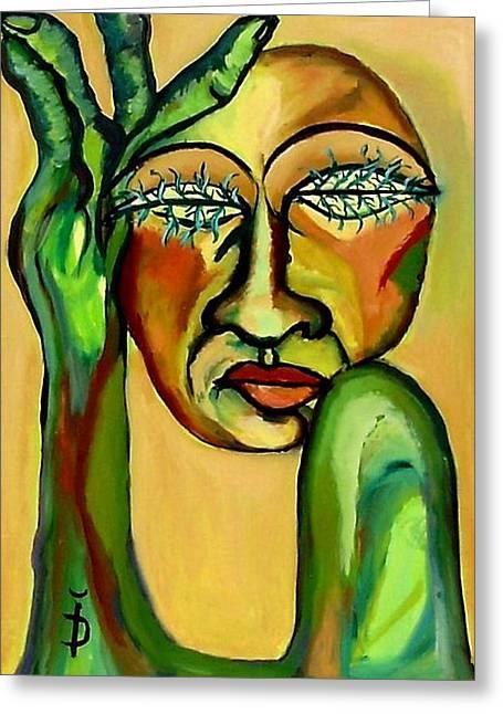 Green Eyes Greeting Card by Daniela Isache