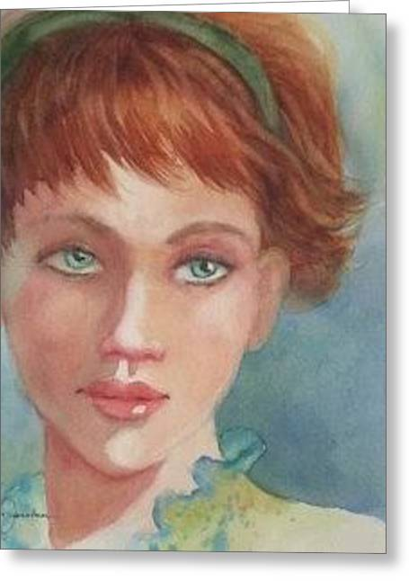 Greeting Card featuring the painting Green Eyes by Marilyn Jacobson