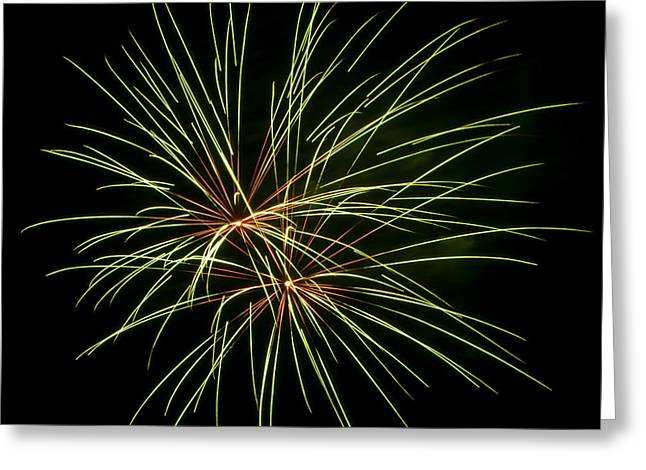 Green Fireworks Greeting Card by Mandy Judson