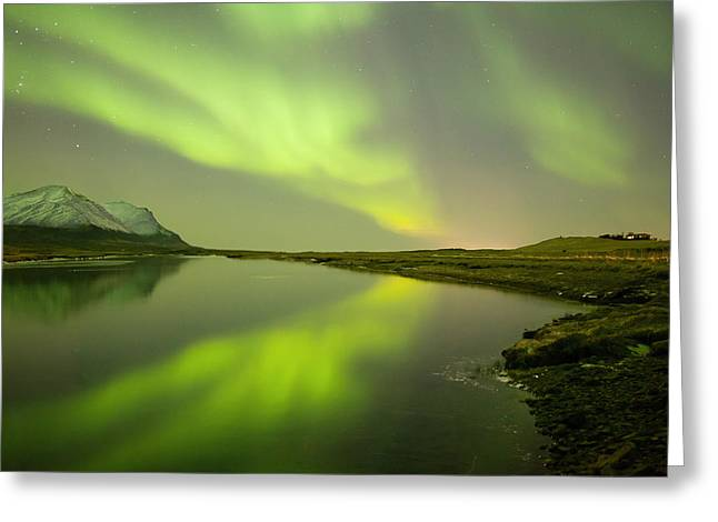 Green Reflection Greeting Card by Thorir Bjorgvinsson