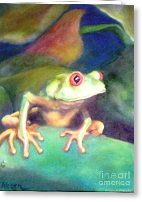 Greeting Card featuring the painting Green Tree Frog - Original Sold by Therese Alcorn