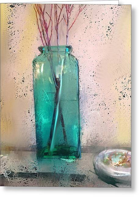 Green Vase Greeting Card by Russell Pierce