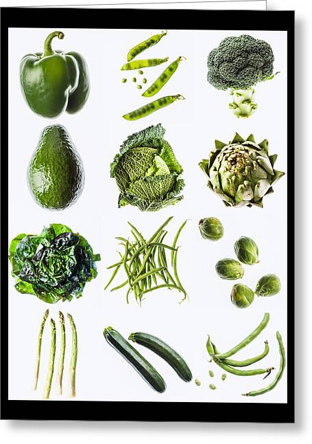 Green Vegetables Greeting Card by Philippe Garo