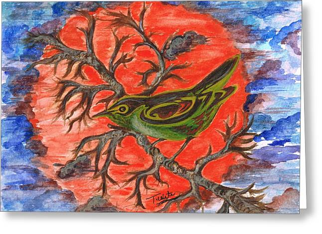 Greeting Card featuring the painting Green Warbler by Teresa White