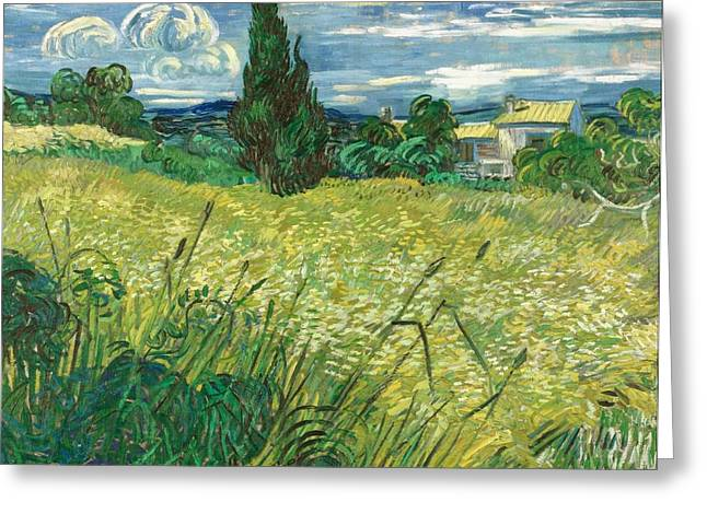 Green Wheat Field With Cypress Greeting Card by Vincent van Gogh