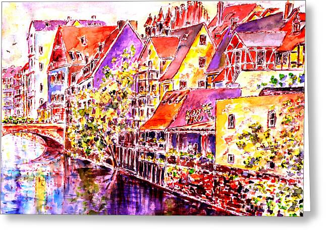 Greeting Card featuring the painting Greetings From Nuremberg by Alfred Motzer