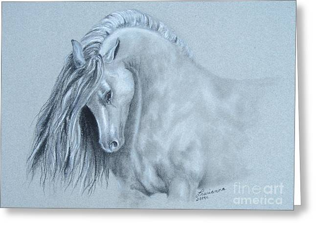 Grey Horse Greeting Card by Laurianna Taylor