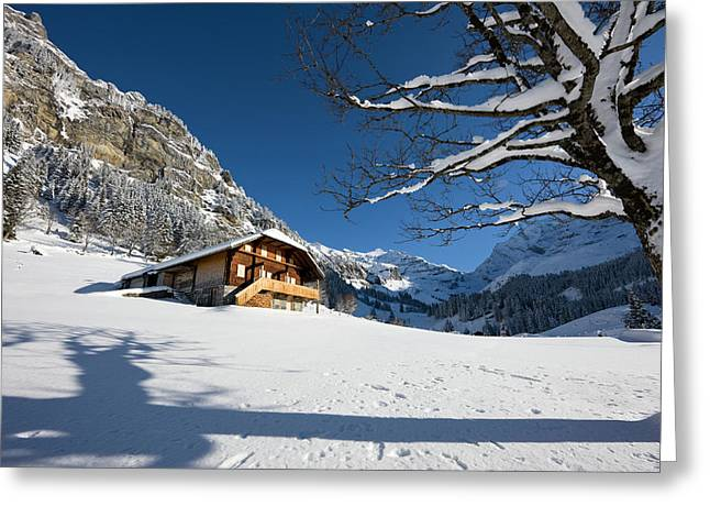 Griesalp And Steineberg In Deep Snow Greeting Card by Martin Zwick