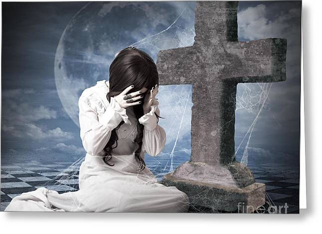 Grieving Gothic Girl Crying Next To Gravestone Greeting Card by Jorgo Photography - Wall Art Gallery