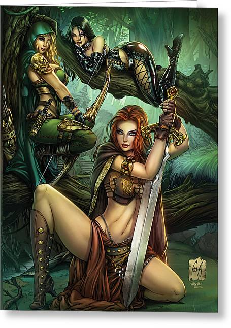 Grimm Fairy Tales Presents Black Diamond Exclusives Greeting Card by Zenescope Entertainment
