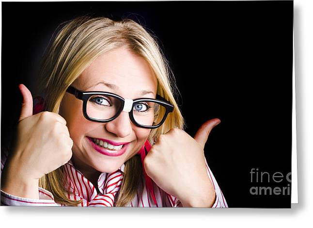 Grinning Geek With Thumbs Up To Cheeky Business Greeting Card by Jorgo Photography - Wall Art Gallery