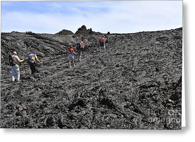 Group Of Hickers Walking On Cooled Lava Greeting Card by Sami Sarkis