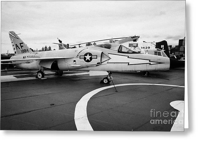 Grumman F11f Tiger On Display On The Flight Deck At The Intrepid Sea Air Space Museum Greeting Card by Joe Fox