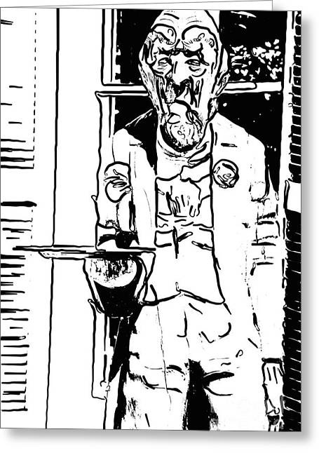 Grumpy Old Waiter Carving Key West - Digital Greeting Card by Ian Monk