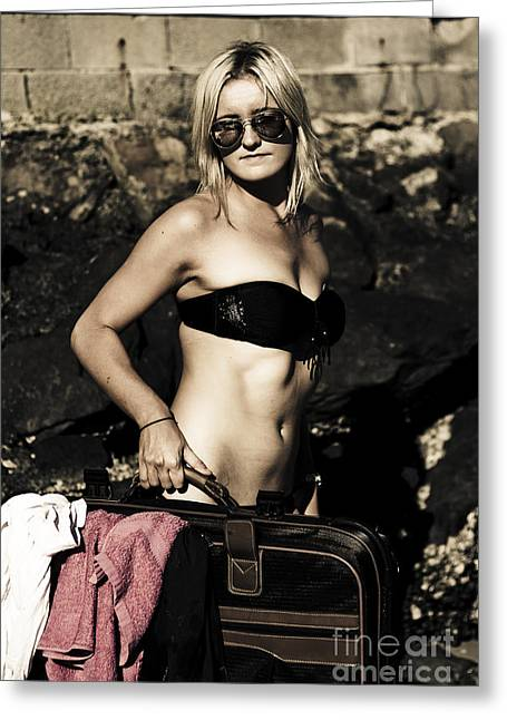 Grunge Babe On Holidays Greeting Card by Jorgo Photography - Wall Art Gallery
