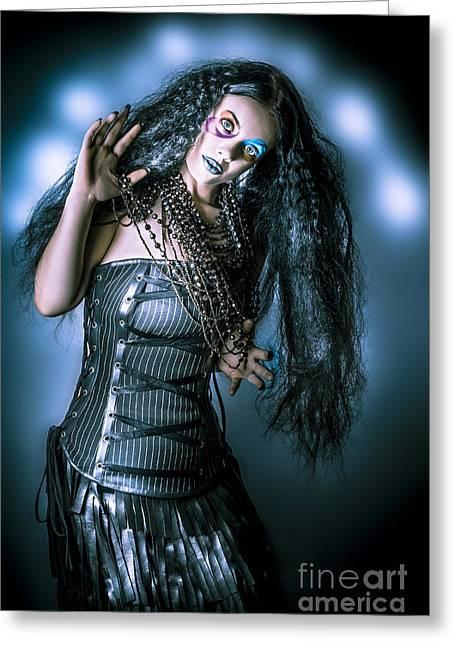 Grunge Brunette Vintage Woman In Black Fashion Greeting Card
