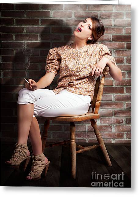 Grunge Girl Smoking Cigarette In Dark Interior Greeting Card by Jorgo Photography - Wall Art Gallery