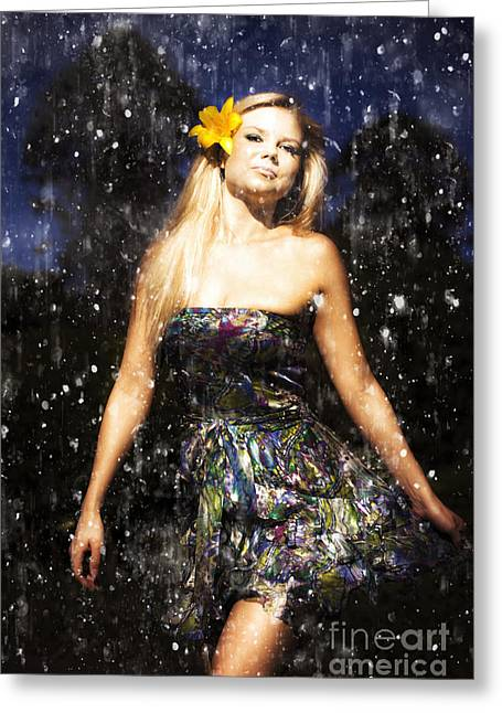 Grunge Portrait Of Sexy Woman In Rain Greeting Card by Jorgo Photography - Wall Art Gallery