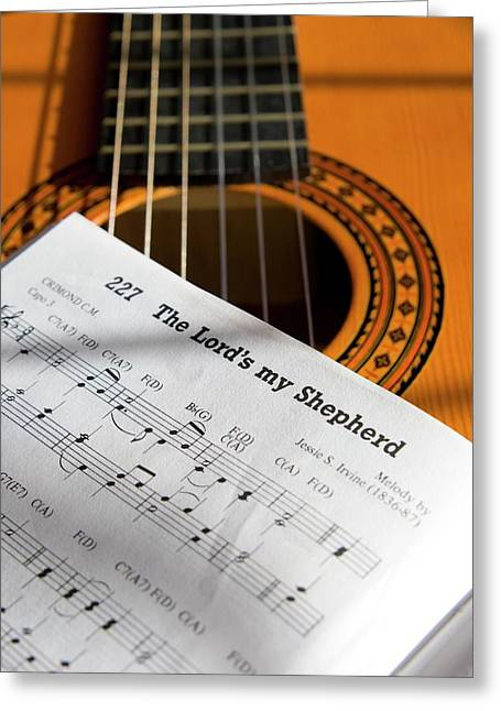 Guitar And Book Of Music Greeting Card