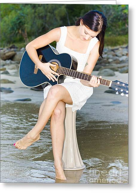 Guitar Woman Greeting Card by Jorgo Photography - Wall Art Gallery