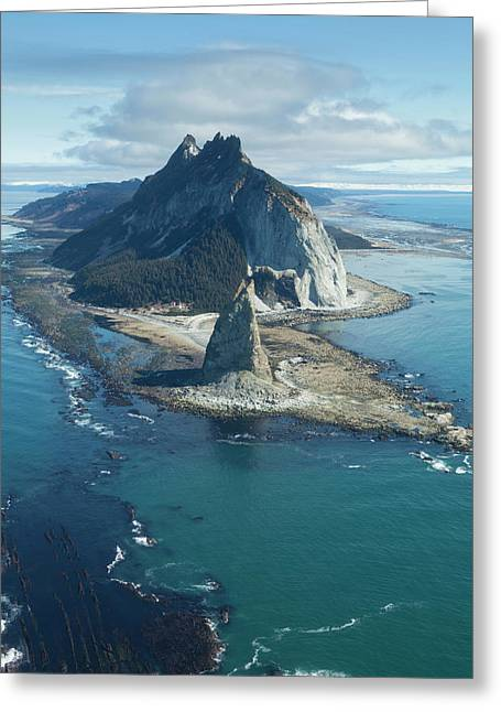 Gulf Of Alaska, The Lighthouse And Rock Greeting Card