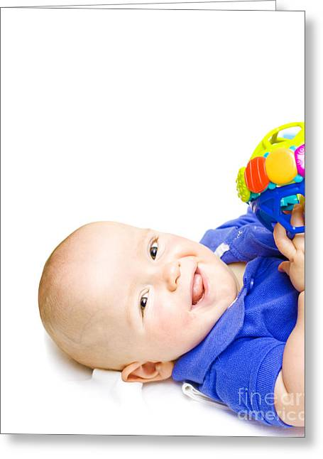 Gurgling Happy Baby With Toy Greeting Card