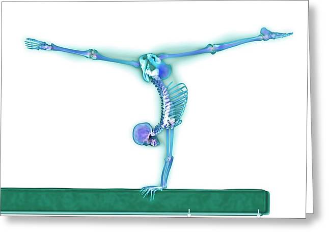 Gymnast Balancing On A Beam Greeting Card by Gustoimages/science Photo Library