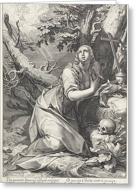 H Penitent Mary Magdalene Greeting Card by Willem Isaacsz. Van Swanenburg And Cornelis Gijsbertsz. Plemp And Jacques Razet