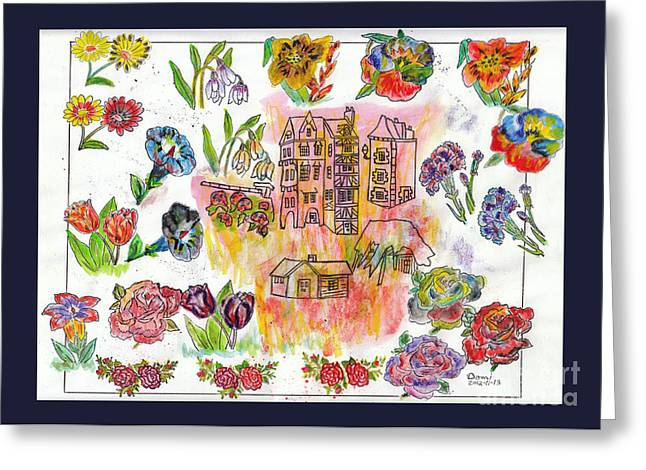 Habitations Et Fleurs / Housing And Flowers Greeting Card by Dominique Fortier