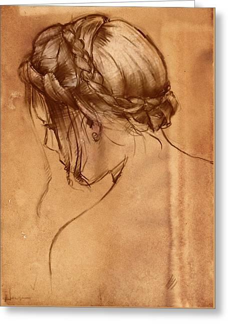 Hair Study Greeting Card by H James Hoff
