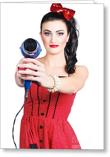 Hairdresser Woman Shooting A Cool Haircut In Style Greeting Card by Jorgo Photography - Wall Art Gallery