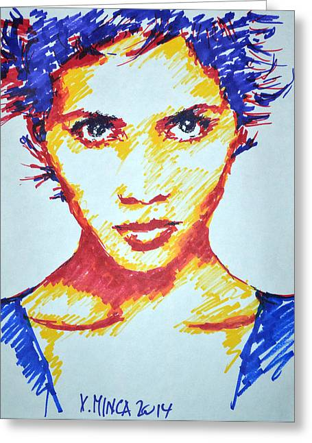 Halle Berry Greeting Card by Victor Minca