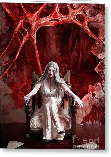 Halloween Fine Art Portrait. Young Vampire Woman  Greeting Card by Jorgo Photography - Wall Art Gallery