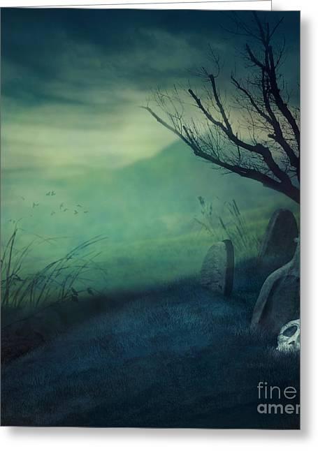 Halloween Graveyard Greeting Card