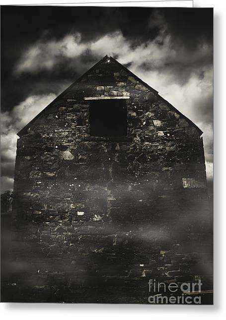 Halloween House Of Horrors. Scary Stone Building Greeting Card by Jorgo Photography - Wall Art Gallery