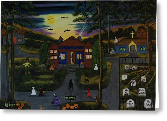Halloween Night Greeting Card by Brenda  Drain