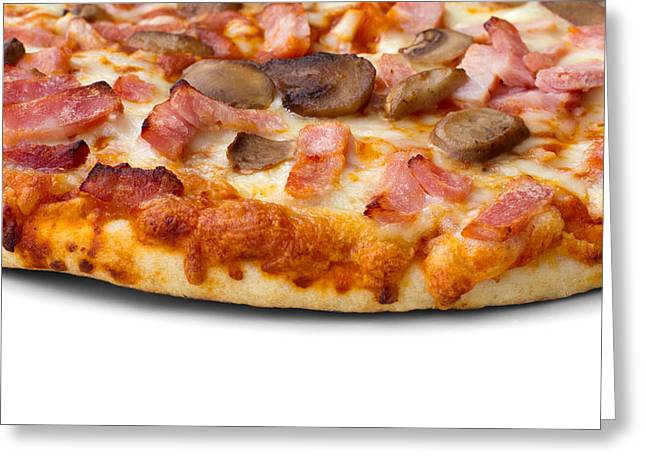 Ham And Mushroom Pizza On White Greeting Card by Fizzy Image