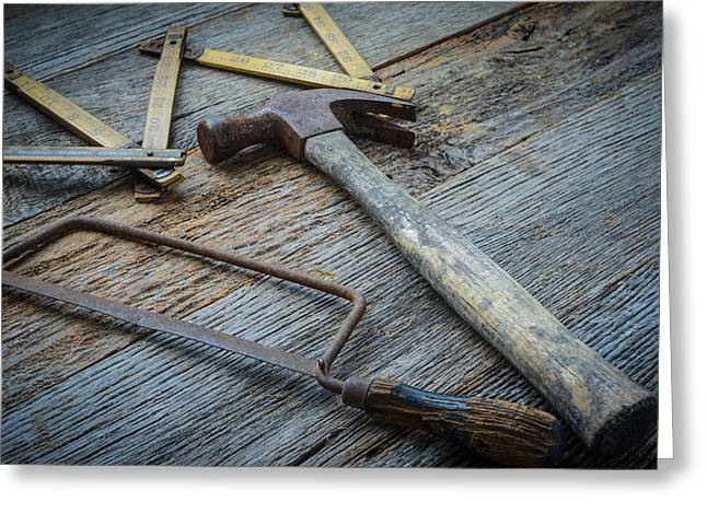 Hammer Saw And Measuring Tape On Rustic Wood Background Greeting Card