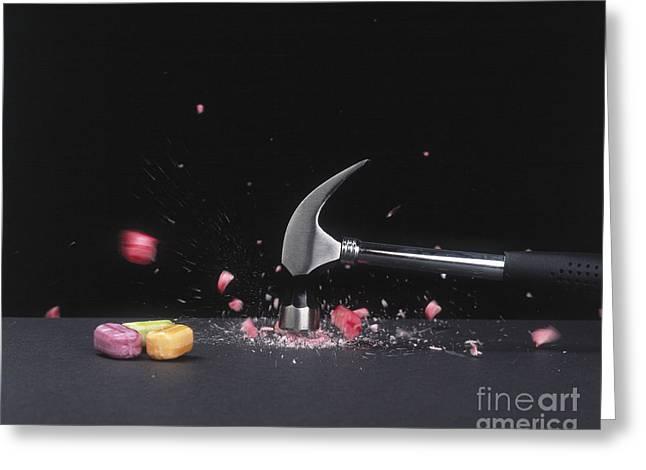 Hammer Smashing Hard Candy Greeting Card