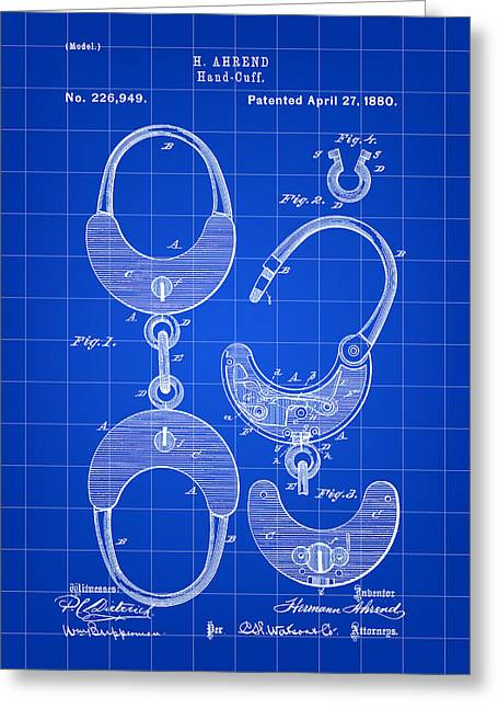 Handcuffs Patent 1880 - Blue Greeting Card