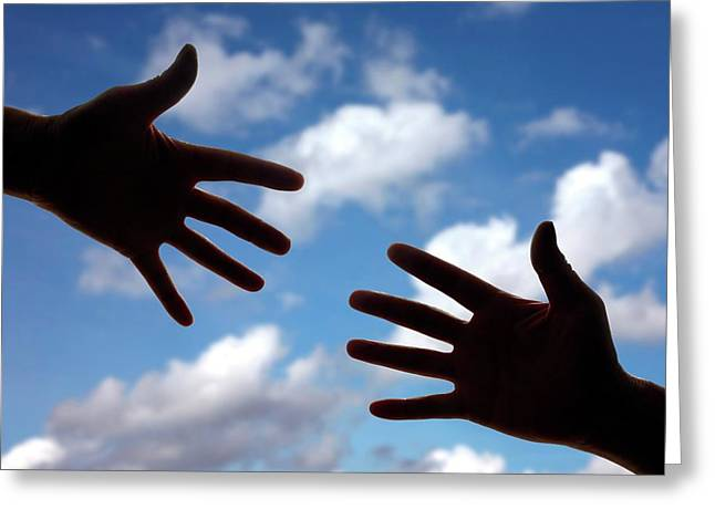 Hands Reaching Towards Each Other Greeting Card