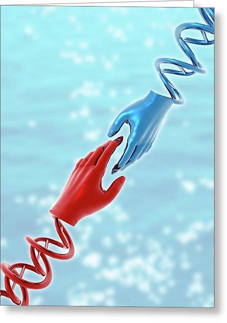 Hands With Double Helix Greeting Card