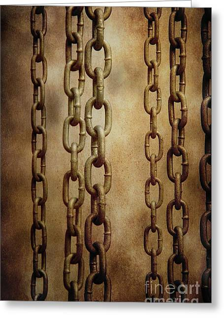 Hanged Chains Greeting Card by Carlos Caetano