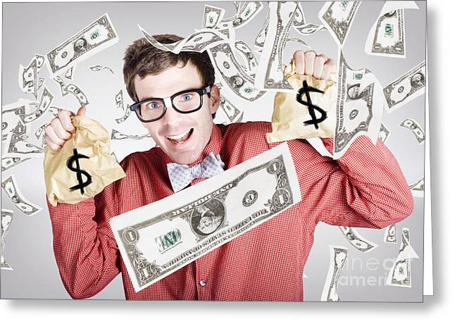 Happy Accountant Man In Rain Of Falling Money Greeting Card by Jorgo Photography - Wall Art Gallery