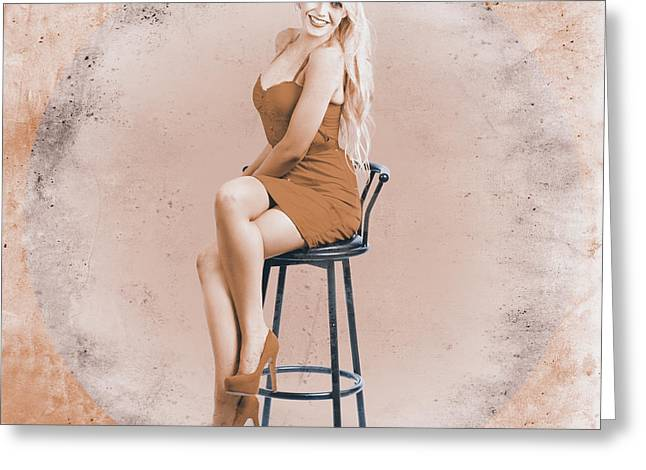 Happy American Style Pin-up Girl On Retro Chair Greeting Card by Jorgo Photography - Wall Art Gallery