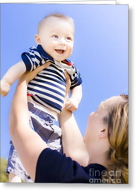 Happy Baby Held Up To The Sky Greeting Card by Jorgo Photography - Wall Art Gallery